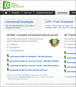 The SDK download page at Qt Software.